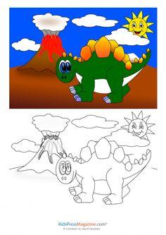 Dinosaur with Volcano Coloring Page - KidsPressMagazine.com