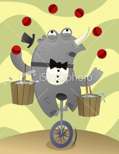 juggling rhino Royalty Free Stock Vector Art Illustration
