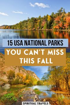 Which national parks are the best to visit this fall? Here are 15 absolutely stunning USA national parks in autumn, for low crowds, ideal weather, amazing colors, and more! Find out which national parks make the list! #usa #america #nationalparks #autumn where to go in the USA this fall | things to do in america in october | where to go in america in november | fall colors | autumn photography | usa national parks photography | usa road trip | grand canyon | acadia | smoky mountains Crater Lake National Park, Everglades National Park, Volcano National Park, Smoky Mountain National Park, Joshua Tree National Park, Yellowstone National Park, Alberta National Parks, American National Parks, Canada National Parks