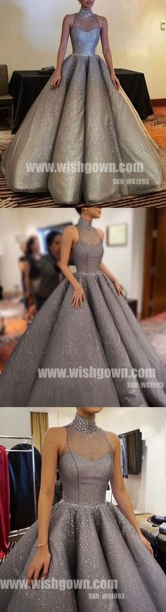 Sparkle Halter New Arrival Inexpensive Evening Long Prom Dresses Ball Gown, WG1093