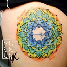 http://tattooideas247.com/colorful-mandala-thigh-tattoo/ Colorful Mandala Thigh Tattoo #Asgard, #BlueAndYellow, #Colorful, #Mandala, #SouthamptonTattooArtists, #VersusWorks