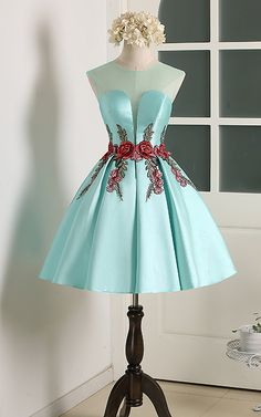 Knee Length A Line V Neckline Teal Cap Sleeve Ruched Appliques Satin Short Homecoming Dress