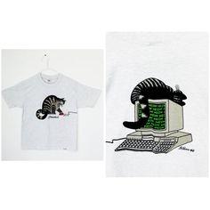 vintage b. Kliban hawaïen de 1980 Cat ordinateur T-Shirt par chemises fous / cadavres d