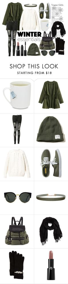 """""""Winter essentials"""" by hereisalessia ❤ liked on Polyvore featuring Boohoo, Hollister Co., Diesel, Aéropostale, RetroSuperFuture, Humble Chic, Neiman Marcus, David & Young, Portolano and Giorgio Armani"""