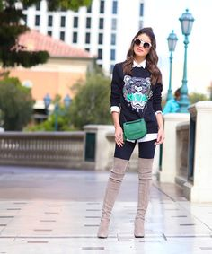 Look Moletom e Bota High Knee camila coelho5