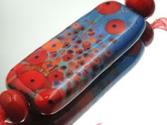 Moogin - Infinity of poppies rectangular freeform focal bead lampwork SRA-SLAE 15% OFF. £15.30, via Etsy.