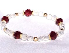 Deep Red & Frosted Crystal Stretch Bracelet