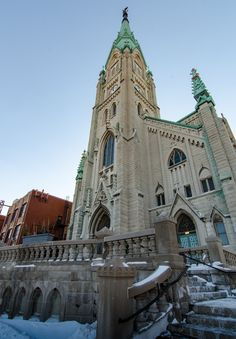 St. Alphonsus Roman Catholic Church (1896 by Boos, Bettinghofer, Schrader & Conradi)  With its soaring central bell tower clad in weathered green copper, St. Alphonsus has been a prominent feature of the six-way intersection of Southport, Lincoln and Wellington since 1896. #OHC2015