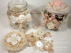 stunning shabby chic pink things | ILuvVintageScrap: Vintage Shabby Chic Glass Jars