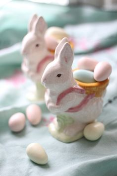 Rabbit egg cups filled with easter goodies