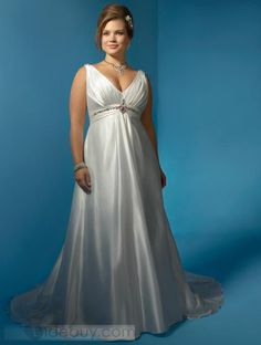 Gorgeous Empire V-neck Floor-Length Chapel Beadings Wedding Dresses
