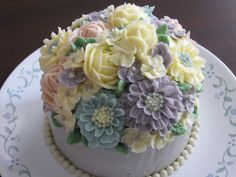 Real 100% handmade buttercream flower cake...