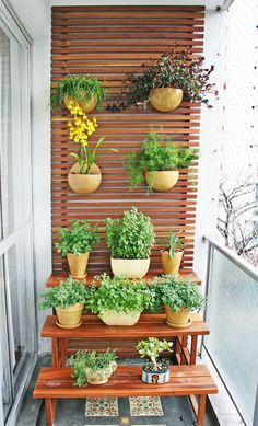 Generally, a balcony only has a table with chairs or even left to be empty. If you are having that kind of balcony, you should start to manage creating a small garden on your balcony because it will give a clement impression into your balcony. Narrow Balcony, Small Balcony Garden, Terrace Garden, Balcony Gardening, Balcony Ideas, Apartment Balcony Garden, Apartment Balconies, Vertical Garden Design, Vertical Gardens