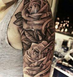 3d flowers rose sleeve tattoo