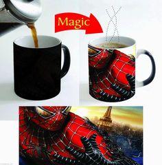 spiderman mugs spider man magic mugs Tea gifts heat sensitive  heat transforming heat changing color mischief managed mug