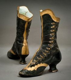 1870-1879, unknown country Black and gold leather side-button boots FIDM Museum