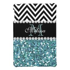 BLUE GLITTER BLACK CHEVRON MONOGRAMMED iPad MINI COVER GIRLY LIGHT BLUE GLITTER (PRINTED EFFECT) WITH BLACK AND WHITE CHEVRON PATTERN, MONOGRAMMED WITH YOUR NAME, YOUR INITIAL OR MONOGRAM ON A BLACK STRIPE OR BAND WITH A BORDER OF PRINTED WHITE DIAMONDS. TRENDY, CHIC COOL CUTE DESIGN FOR HER, THE TRENDSETTER, THE FASHIONISTA #chevron #glitter #blue #black #monogram #initial #monogrammed #personalized #girly #diamonds #bling...