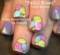 """prom nails"" ""nail art"" ""prom nail art"" ""pastel roses"" ""pastel rose nail art"" ""how to paint roses"" ""rose nail art tutorial"" ""pink rose nails"" ""yellow rose nails"" ""lavender rose nails"" ""teal rose nails"" roses nails nailart design ""robin moses"""