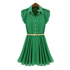 $18.53 Pleated Lapel Collar Short Sleeves Solid Color Chiffon Ladylike Style Dress For Women