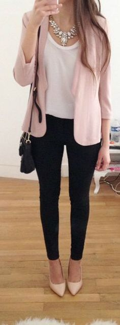 this one is my favotire summer outfit for work pale pink jacket look very chic and simple