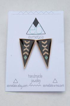 Large Geometric Chevron Point Earrings