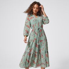 Long Sleeve Tiered Midi Dress - Sage Green Floral | Target Australia Tights And Boots, Long Sleeve Midi Dress, Everyday Dresses, Cold Shoulder Dress, Size 10, Sage, Floral, Green, Model