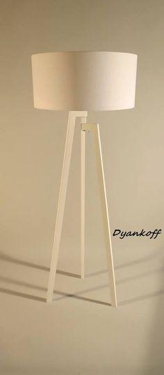 Handgemaakte Tripod vloerlamp met unieke houten door DyankoffShop