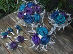 Blue, turquoise and purple inspired by paua wedding bouquets and buttonholes