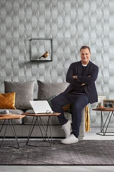 Fashion For Walls Warm Grey, Desk, Furniture, Home Decor, Fashion, Environment, Scene, Living Room Ideas, Wallpaper