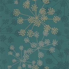 Sparkle Floral wallpaper in Teal and Metallic, Green and Blue
