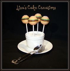 Hamburger Cake Pops.  By Lisa's Cake Creations on Facebook