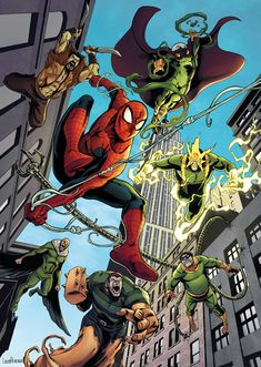 Spiderman and The Sinister Six by LucasPereiraArt on DeviantArt Disney Marvel, Marvel Art, Marvel Heroes, Spiderman Tattoo, Spiderman Art, Amazing Spiderman, The Sinister Six, Comic Book Tattoo, Mundo Dos Games