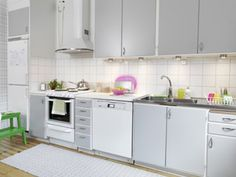 According to new trends, white is the new stainless!!  Gray cabinets & white appliances