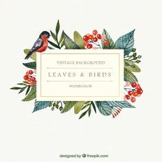 Watercolor leaves and bird background