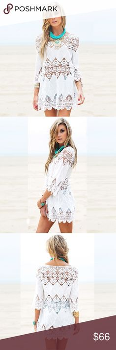 Crochet Lace Half Sleeve Beach Swim Coverup Dress NWT  ❌ Sorry, no trades.   fairlygirly fairlygirly Swim Coverups
