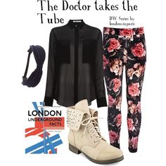 """""""What to Wear When: The Doctor takes the Tube"""" by londonviaparis on Polyvore """"Oh dear, modern day London again? Something is making a nest beneath the streets of this foggy town, hopefully you'll find it before it finds you!"""""""