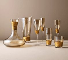 Hand blown glassware with hand cut facets and hand painted gold accents. The Perfect Touch, Hand Washing, Decanter, White Wine, Cleaning Wipes, Tumbler, Wine Glass, Tea Pots, Tableware