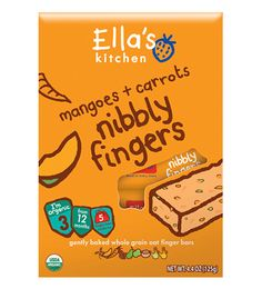 100% yummy nibbly snack bars with organic mangoes + carrots and no concentrates or refined sugars. Perfect for little hands to munch on.