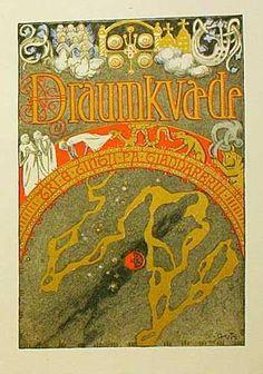 Illustration for Draumkvedet / Draumkvædet, Norwegian medieval ballad, by Gerhard Munthe Title page