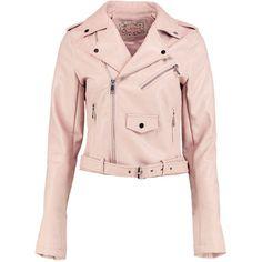 Boohoo Gemma Boutique Belted Faux Leather Biker Jacket (530 DKK) via Polyvore featuring outerwear, jackets, puffer jacket, faux leather biker jacket, pink puffer jacket, duster coat and pink duster coat