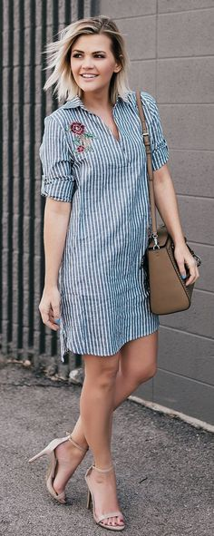 Striped Dress & Brown Leather Shoulder Bag & Nude Pumps