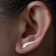 Feather Stud Earrings, gold and silver earrings 2017