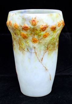 A beautifully subtle example of the exceedingly rare Gabriele Argy-Rousseau Pâte de Verre 'Californian Cypress' vase in a delightfully natural color way.