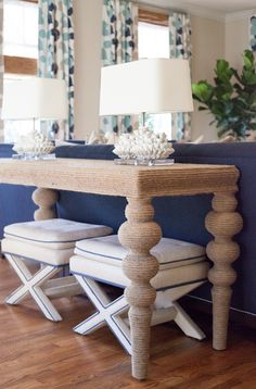 Lucy and Company - living rooms - Turned Leg Ismail Console, beach living room, nautical living room, beachy living room, beachy color schem. Beach Living Room, Cottage Living Rooms, Coastal Living Rooms, Console Table Behind Sofa, Piece A Vivre, Beach House Decor, Coastal Decor, Coastal Cottage, Coastal Homes