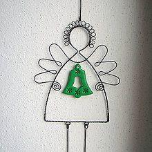 Dekorácie - anjel so zvončekom (35cm) - 5739523_