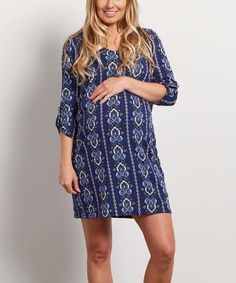 This PinkBlush Navy Blue Floral Maternity Three-Quarter Sleeve Dress is perfect! #zulilyfinds