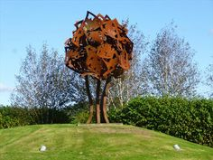When Merlin's Oak shall tumble down, Then shall fall Carmarthen Town. Steel Sculpture, Cymru, Places Of Interest, Oak Tree, Land Art, Public Art, Welsh, Homeland, Fathers