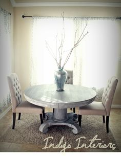 Vintage Gray and White Washed Round Pedestal by IndigoInteriors