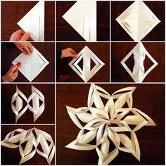 Pretty 3D paper star Snowflakes . Directions &video--> http://wonderfuldiy.com/wonderful-diy-3d-paper-star-decoration/