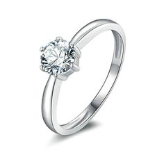 Women Wedding Rings Silver Plated Cubic Zirconia Personalized Rings Custom Made Size 85 by Aienid -- Details can be found by clicking on the image.